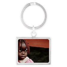 Girl at a refugee camp, Uganda Landscape Keychain