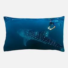 Whale shark and snorkeler Pillow Case