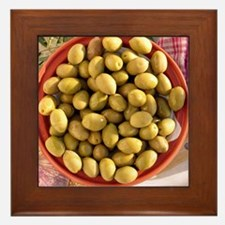 Green olives in bowl Framed Tile