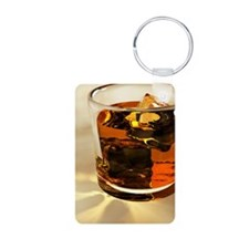 Glass of whiskey, computer Aluminum Photo Keychain