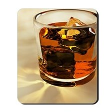Glass of whiskey, computer artwork Mousepad
