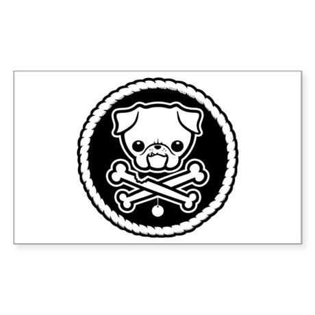 PugglyPirate-1cl Rectangle Sticker