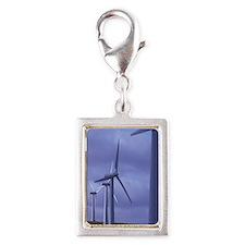 Wind farm turbines Silver Portrait Charm