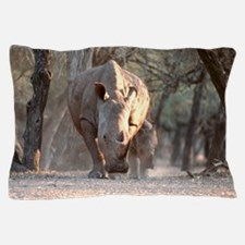 White rhinoceros mother and calf Pillow Case