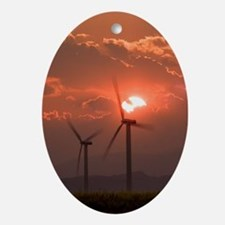 Wind turbines Oval Ornament