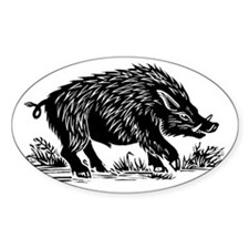 Wild boar, woodcut Decal