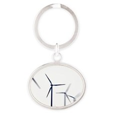 Wind turbines Oval Keychain