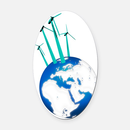 Wind power, artwork Oval Car Magnet