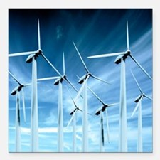 "Wind turbines Square Car Magnet 3"" x 3"""
