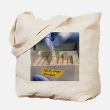 Hand holds vial of vaccine for cervical c Tote Bag