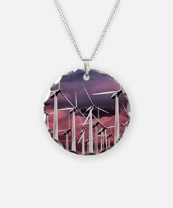 Wind turbines Necklace Circle Charm