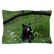 Young black bear smelling wildflowers Pillow Case