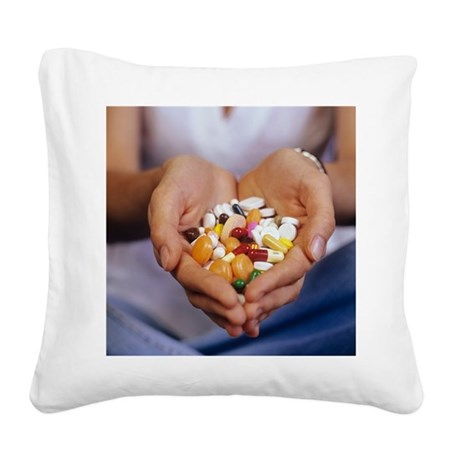 Handful of pills Square Canvas Pillow