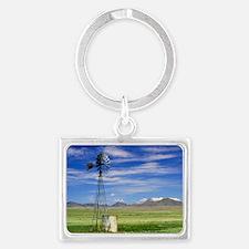 Windmill on prairie land, New M Landscape Keychain