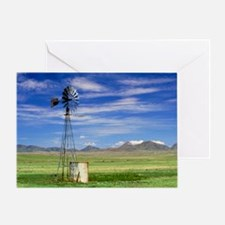 Windmill on prairie land, New Mexico Greeting Card
