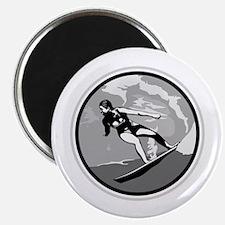 """Black & White Surfer Girl Design 2.25"""" Magnet (10"""