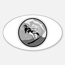 Black & White Surfer Girl Design Oval Decal