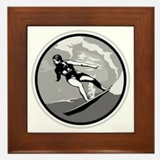 Black & White Surfer Girl Design Framed Tile
