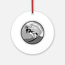 Black & White Surfer Girl Design Ornament (Round)