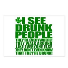 I SEE DRUNK PEOPLE! ST PATRICKS DAY Postcards (Pac