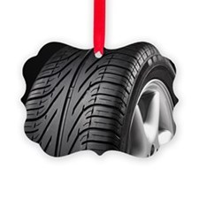 Car tyre on black background Ornament
