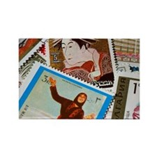 Assorted foreign postage stamps Rectangle Magnet