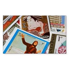 Assorted foreign postage stamp Decal