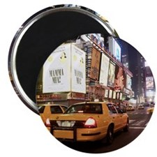 Taxis driving through times square in New Y Magnet