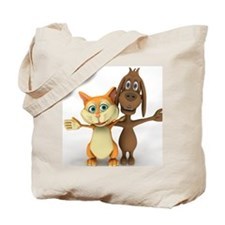 Cat and dog posing as friends Tote Bag