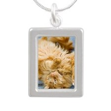 Cat lying on back Silver Portrait Necklace