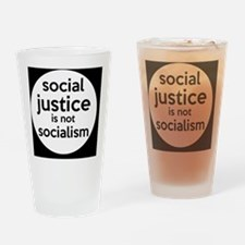 socialjusticebutton Drinking Glass