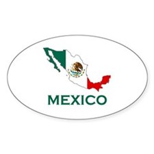 Mexico Map (Light) Oval Decal