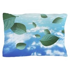 Leaves floating on blue sky Pillow Case