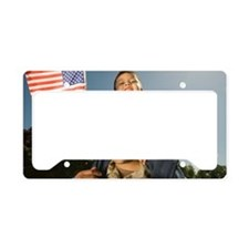 Military soldier holding son  License Plate Holder