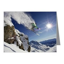 Skier in midair on snowy mou Note Cards (Pk of 20)