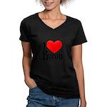 I Love Byron Women's V-Neck Grey T