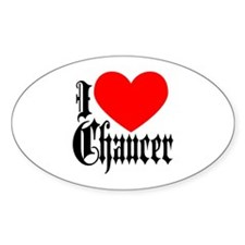 I Love Chaucer Oval Decal
