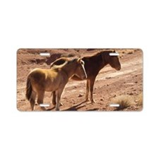 Two ponies in the desert of Aluminum License Plate