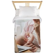 Caucasian mother breast feeding baby an Twin Duvet