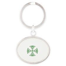 White logo w green knot Oval Keychain