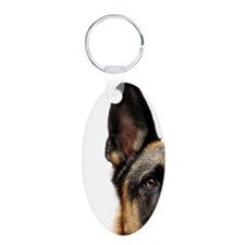 German shepherd dog with wh Aluminum Oval Keychain