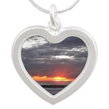Sunset over Pacific Ocean. Silver Heart Necklace