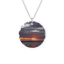 Sunset over Pacific Ocean. Necklace Circle Charm
