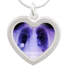 Heart pacemaker, X-ray Silver Heart Necklace