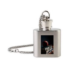 Apple on stack of books Flask Necklace