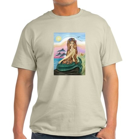 Mermaid and 3 Dolphins Light T-Shirt