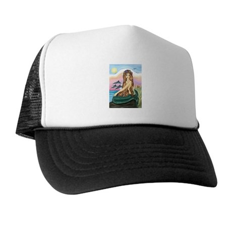 Mermaid and 3 Dolphins Trucker Hat