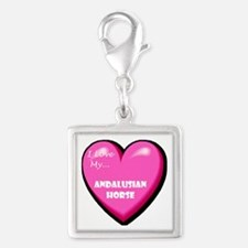 I Love My Andalusian Horse Silver Square Charm