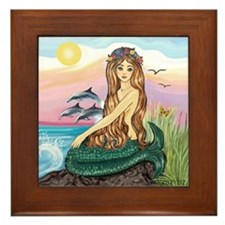 Mermaid and 3 Dolphins Framed Tile
