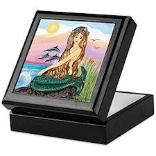 Mermaid and 3 Dolphins Keepsake Box